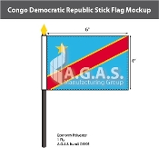 Congo Democratic Republic Stick Flags 4x6 inch