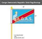 Congo Democratic Republic Stick Flags 12x18 inch
