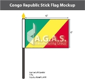 Congo Republic Stick Flags 4x6 inch