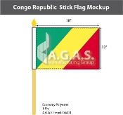Congo Republic Stick Flags 12x18 inch