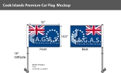 Cook Islands Car Flags 10.5x15 inch Premium