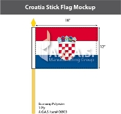 Croatia Stick Flags 12x18 inch