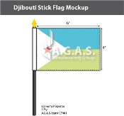 Djibouti Stick Flags 4x6 inch