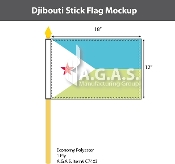 Djibouti Stick Flags 12x18 inch