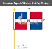 Dominican Republic Stick Flags 12x18 inch (with seal)