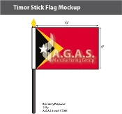 East Timor Stick Flags 4x6 inch
