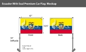 Ecuador Car Flags 10.5x15 inch Premium (with seal)