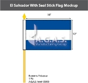 El Salvador Stick Flags 12x18 inch (no seal)