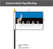 Estonia Stick Flags 4x6 inch