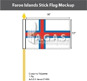 Faroe Islands Stick Flags 12x18 inch
