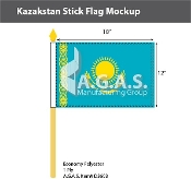 Kazakhstan Stick Flags 12x18 inch
