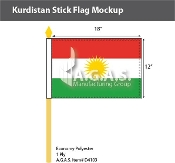 Kurdistan Stick Flags 12x18 inch
