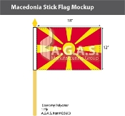 Macedonia Stick Flags 12x18 inch