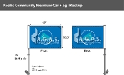 Pacific Community Car Flags 10.5x15 inch Premium