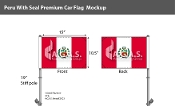 Peru Car Flags 10.5x15 inch Premium (with seal)