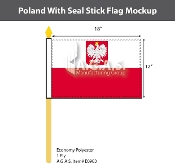 Poland Stick Flags 12x18 inch (with seal)