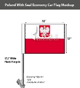 Poland Car Flags 12x16 inch Economy (with seal)