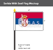 Serbia Stick Flags 4x6 inch (with seal)