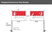 Singapore Car Flags 10.5x15 inch Premium