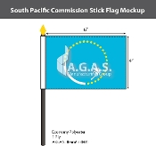 South Pacific Commission Stick Flags 4x6 inch