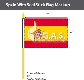 Spain Stick Flags 12x18 inch (with seal)