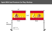 Spain Car Flags 10.5x15 inch Premium (with seal)