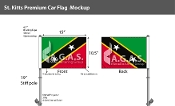 St. Kitts Car Flags 10.5x15 inch Premium