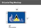 St. Lucia Flags 12x18 inch