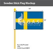 Sweden Stick Flags 12x18 inch
