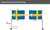 Sweden Car Flags 10.5x15 inch Premium
