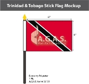 Trinidad Tobago Stick Flags 4x6 inch