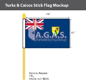 Turks & Caicos Stick Flags 12x18 inch