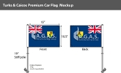 Turks & Caicos Car Flags 10.5x15 inch Premium