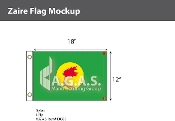Zaire Flags 12x18 inch