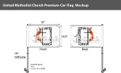 Methodist Car Flags 10.5x15 inch Premium