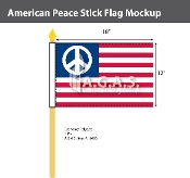 American Peace Stick Flags 12x18 inch
