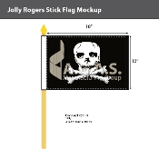 Jolly Roger Stick Flags 12x18 inch
