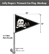 Jolly Roger Pennant Car Flags 12x16 inch Economy