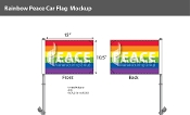 "Rainbow Peace Car Flag 10.5""X15"""