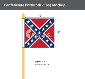 Confederate Battle Stick Flags 12x12 inch