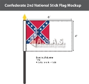Confederate 2nd National Stick Flags 4x6 inch