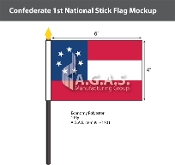 Confederate 1st National Stick Flags 4x6 inch