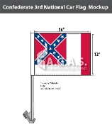 Confederate 3rd National Car Flags 12x16 inch Economy