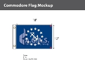 Commodore Deluxe Flags 12x18 inch