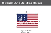 Historical US 15 Stars Flags 4x6 foot