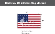 Historical US 20 Stars Flags 5x8 foot