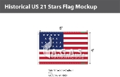 Historical US 21 Stars Flags 4x6 foot