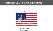 Historical US 21 Stars Flags 5x8 foot