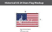 Historical US 24 Stars Flags 5x8 foot