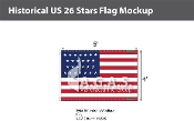 Historical US 26 Stars Flags 4x6 foot